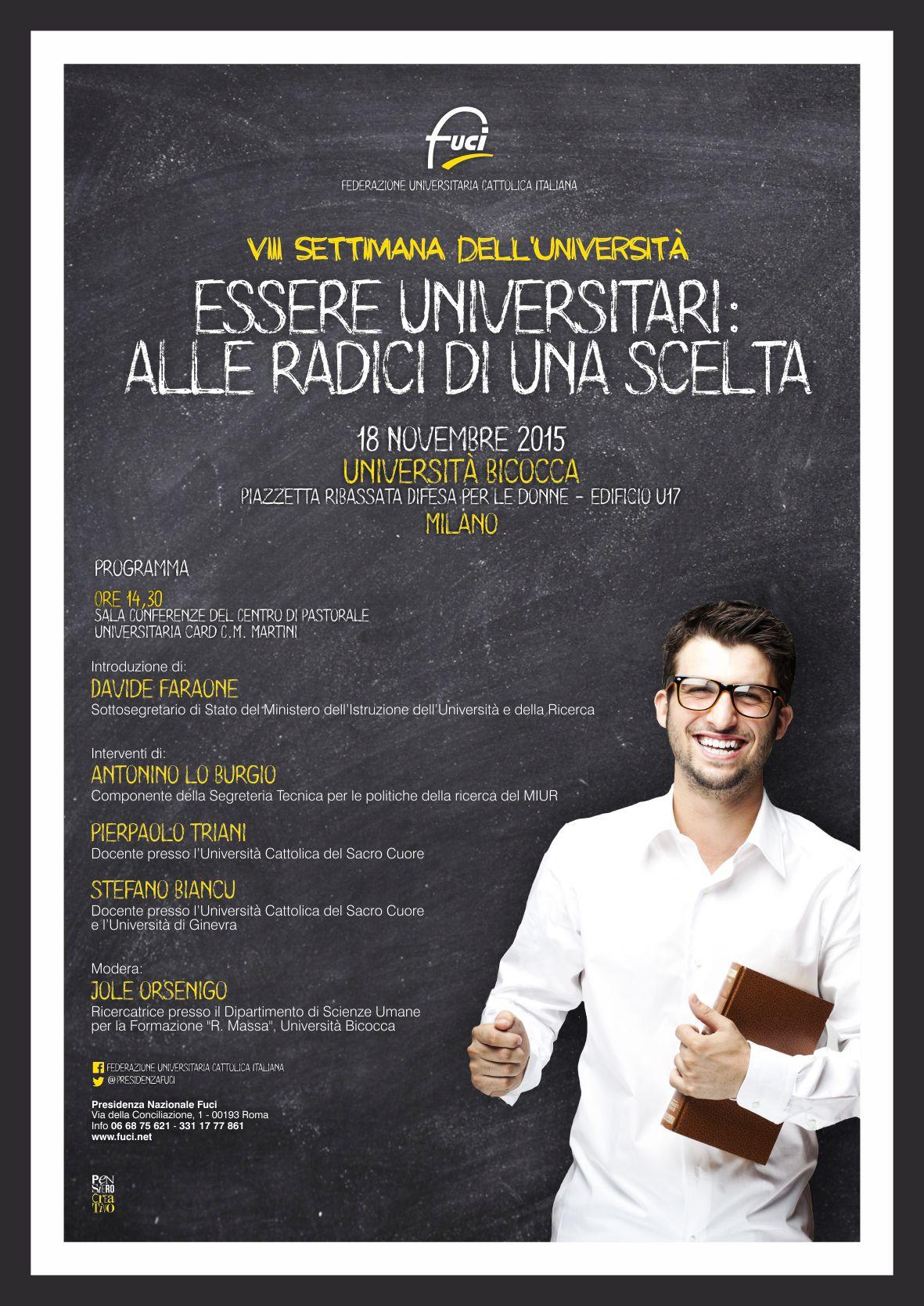 Essere Universitari: alle radici di una scelta. Il 18 novembre la Settimana dell'Università a MIlano