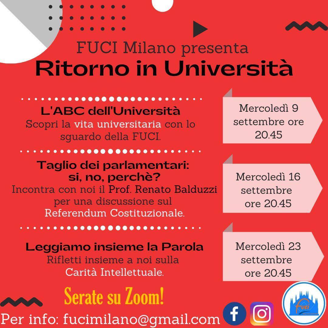 CICLO DI INCONTRI ONLINE - RITORNO IN UNIVERSITÀ #2020